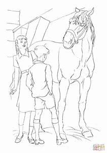 Ausmalbild Ein Pferd Und Kinder Ausmalbilder Kostenlos