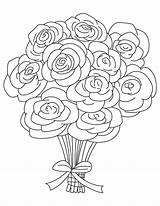 Coloring Pages Bouquets Rose Roses Bouquet Popular sketch template