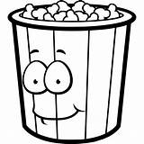Coloring Popcorn Bucket Cartoon Pages Box Sheets Funny Printable Eating sketch template