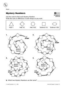 mystery numbers worksheet for 3rd 4th grade lesson planet