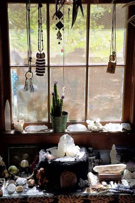 sacred healing altar crystals crystal window spaces space room decor meditation decoration rooms stones witch sill corner minerals witchcraft zen