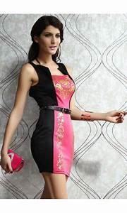 mini robe noire et rose avec ceinture inclus boutique With robe rose et noir