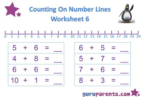 number line worksheets guruparents 364 | preschool math number line worksheet 6