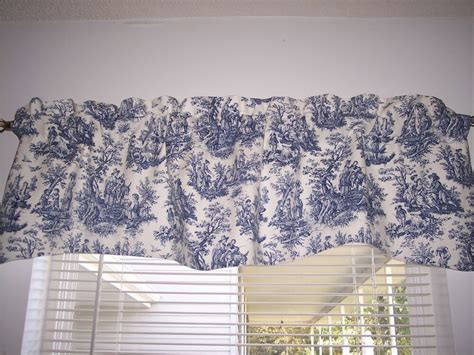 Blue Kitchen Valance by Navy Delft Blue White Waverly Rustic Toile Scalloped Lined