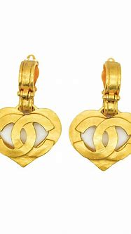 Chanel Vintage CC Logo Heart Earrings - from Amarcord ...