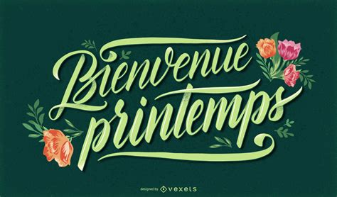 Welcome Spring French Lettering - Vector Download