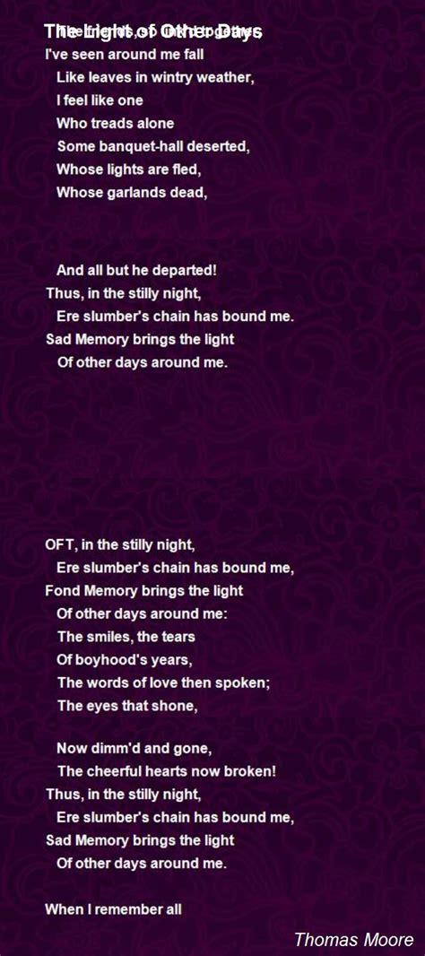 light   days poem  thomas moore poem hunter