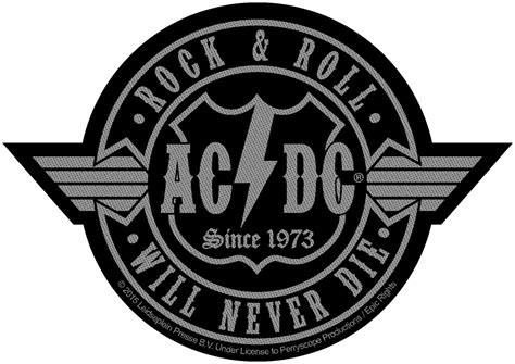 Acdc 'rock N Roll Will Never Die Cut Out' Woven Patch