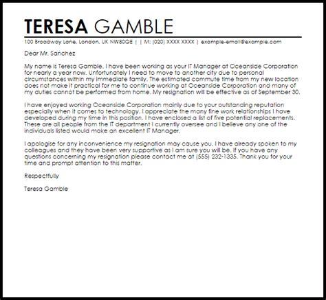 resignation letter      concern letter