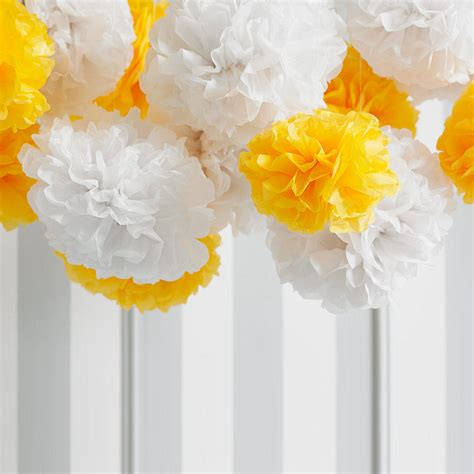 Pack Of Five White Tissue Paper Pom Poms By Ginger Ray