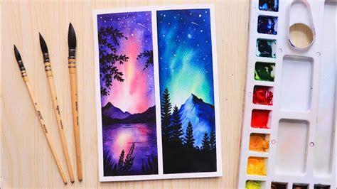 easy watercolor painting ideas night sky  beginners