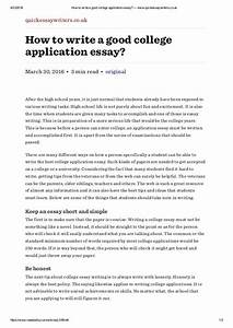 how to write a good college application essay www With college application essay