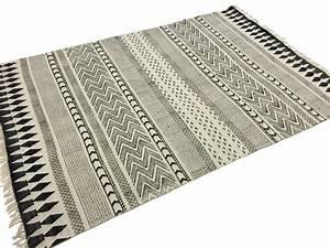 tapis chiffons marrakech noir gris blanc With tapis noir blanc gris