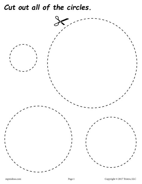 free circles cutting worksheet circles tracing
