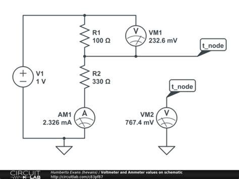 voltmeter  ammeter values  schematic circuitlab
