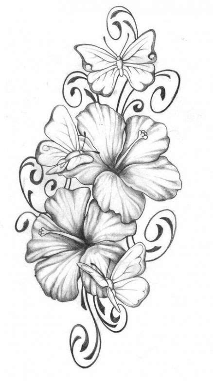 Trendy flowers drawing design pattern clip art 26 ideas #drawing #flowers   Tattoos, Hibiscus