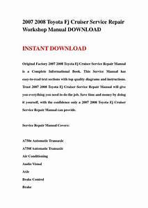 2007 2008 Toyota Fj Cruiser Service Repair Workshop Manual