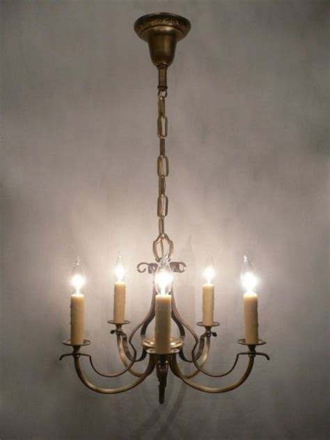 beautiful antique five light bronze wash and brass