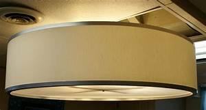 Large drum pendant light baby exit