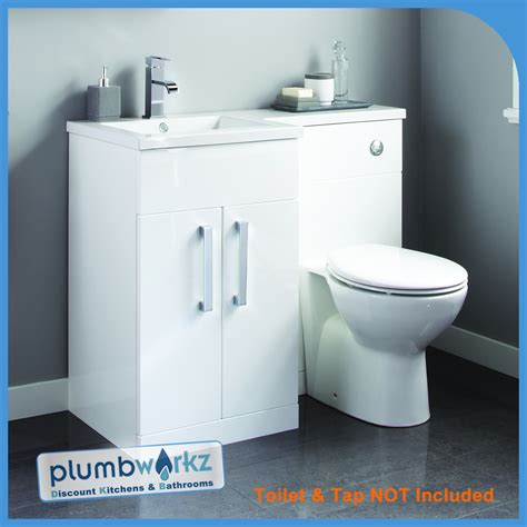 L Shaped Bathroom Vanity Unit by White L Shape Bathroom Furniture Suite Resin Basin Btw