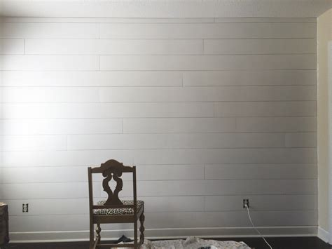 Shiplap Painted White by Plum Pretty Decor Design Co Diy Faux Shiplap Wall