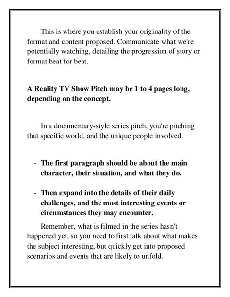 Tv Show Pitch Format Helpemberalertco Show Pitch Template How To Create And Pitch A Reality Tv Show Idea