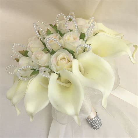 brides posy bouquet ivory cala lilies roses artificial