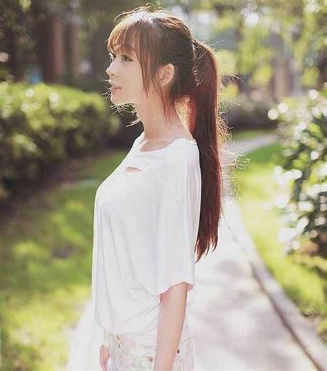 cute ponytails  bangs top ponytails  bangs