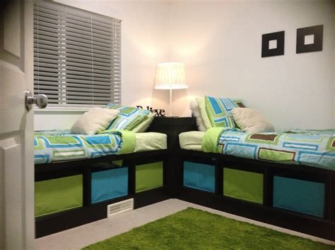 room for two boys corner beds twins pinterest