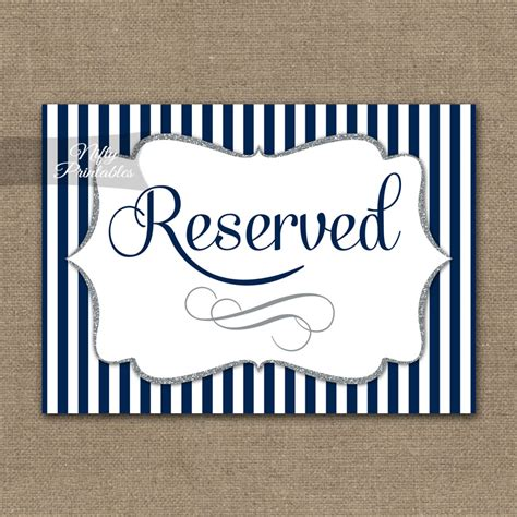 reserved sign printable reserved sign navy blue silver stripe