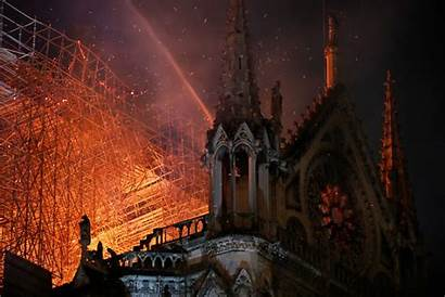 Fire Paris Cathedral Dame Notre Flames Night