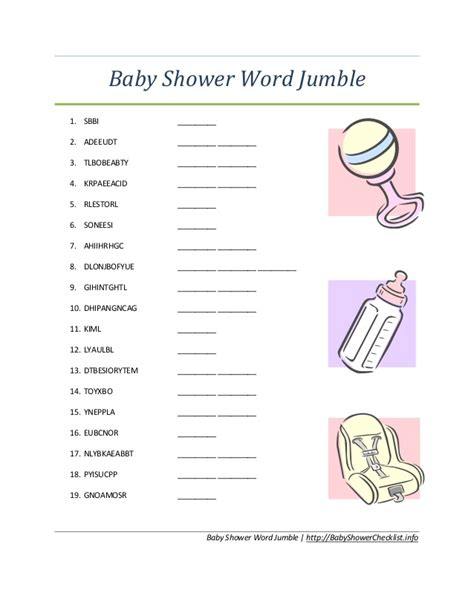 adorable baby shower word scrambles kitty baby love