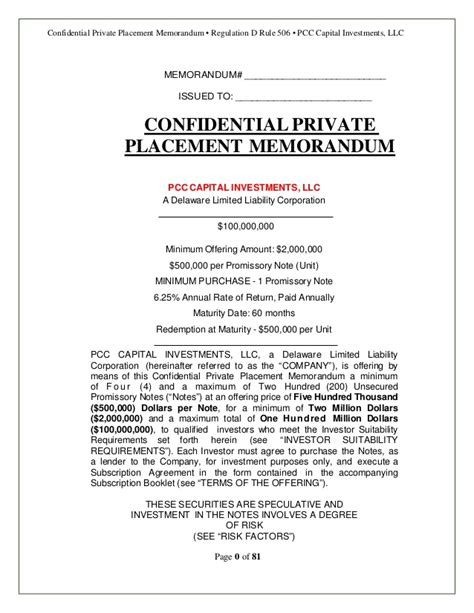 Real Estate Offering Memorandum Template by Confidential Placement Memorandum
