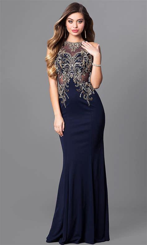 Elizabeth K Bateau-Neck Long Prom Dress - PromGirl