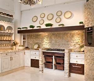 1001 designs et conseils pour la cuisine rustique parfaite With cuisine avec mur en pierre