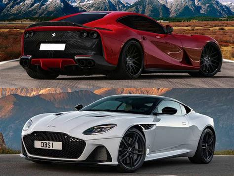 cars battle ferrari  superfast  aston martin dbs