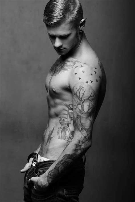 Sexy Men Half Sleeve Tattoos | Sleeve Tree and Birds