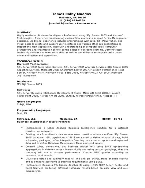 Bi Developer Resume Indeed by Colby Maddox S Business Intelligence And Software Developer Re