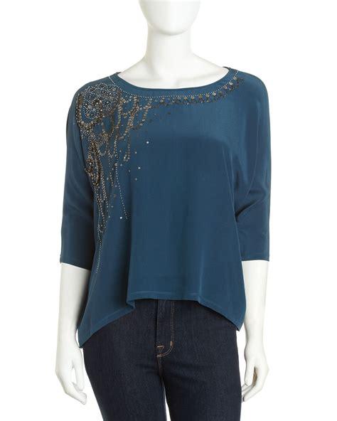 teal blouses fifteen twenty sequin dolman sleeve blouse in blue