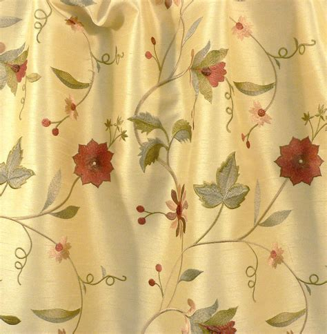 drapery upholstery fabric embroidered floral faux silk