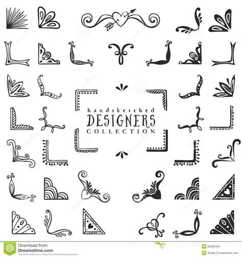Font Decoration Vintage Decorative Corners Collection Hand Drawn Vector