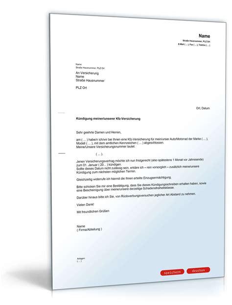 Kfz Versicherung Kuendigen by K 252 Ndigung Der Kfz Versicherung Muster Vorlage Zum