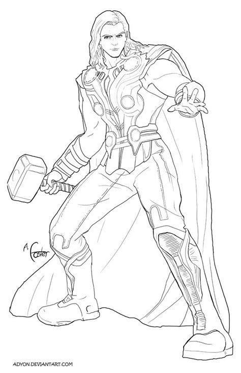 thor line art by adyon on deviantart coloring pages