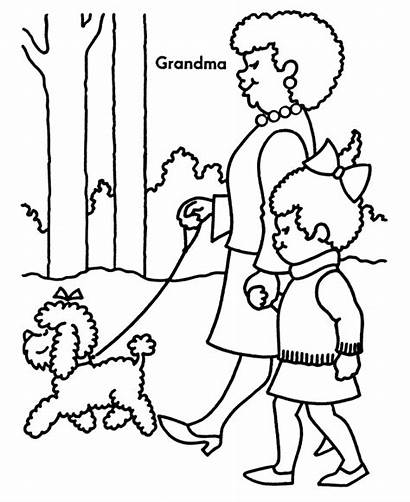 Coloring Pages Grandparents Grandma Grandmother Sheets Things