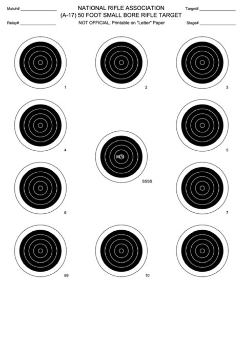 foot small bore rifle target template printable