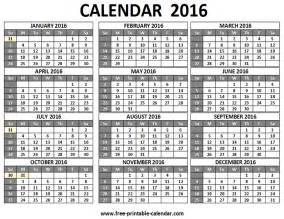 2016 Calendar Printable One Page 12 Month