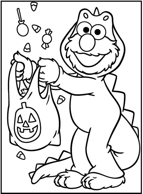 Sesame Street Halloween coloring picture for kids