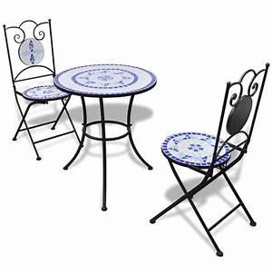 Bistrotisch Mit 2 Stühlen : der mosaik bistrotisch 60 cm mit 2 st hlen blau wei ~ Michelbontemps.com Haus und Dekorationen