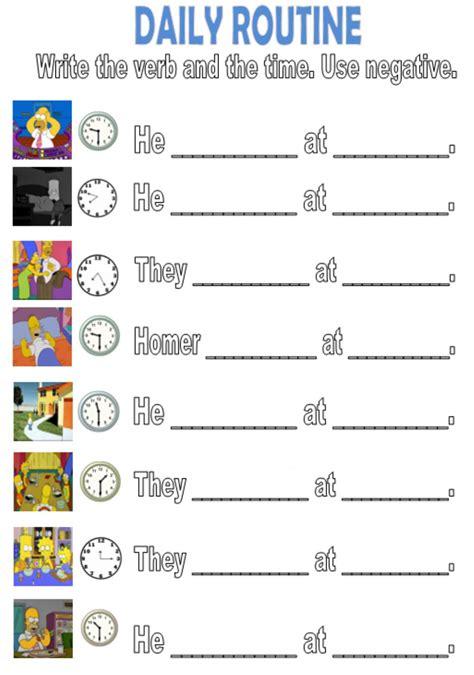 daily routine write negative interactive worksheet