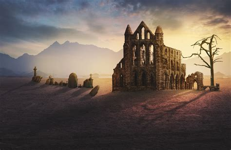 images ruin monastery graves fantasy lighting